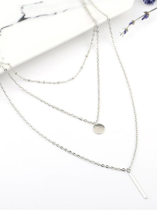 Vintage Layered Pendant Chain Necklace