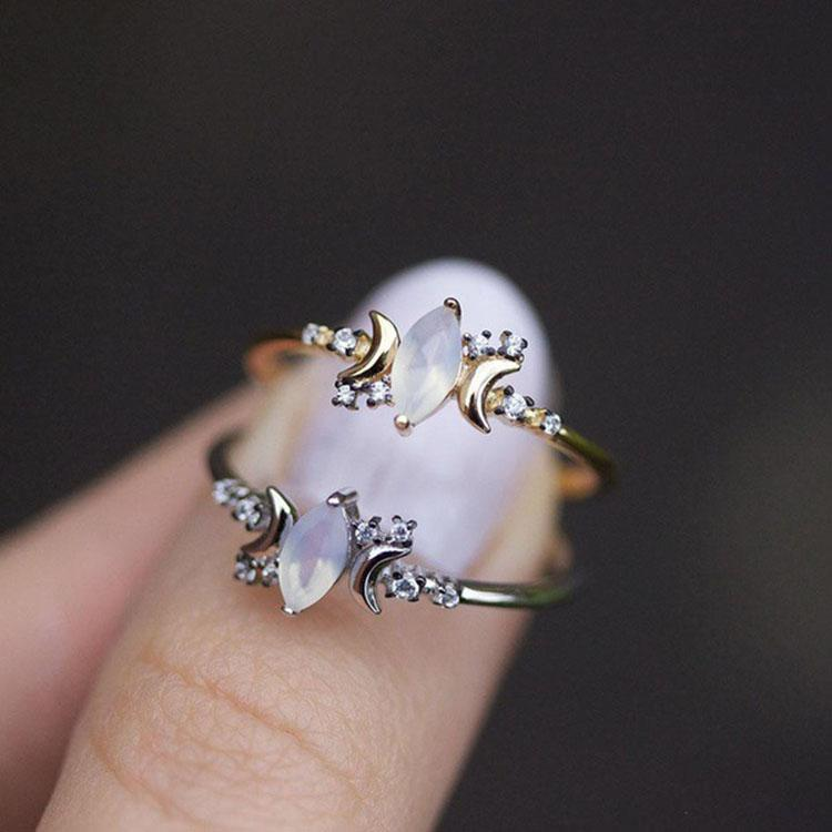 Triple Moon Goddess Moonstone Ring