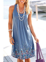 Fashion Printing Sleeveless Casual Floral Dress