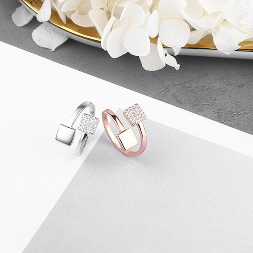 Gemstone Concise Style S925 Silver Open Ring