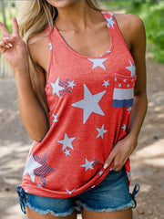 Star American Flag Printed Pocket Tank Top