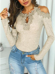 Sexy Lace Splicing Slim Long Sleeves T-shirt
