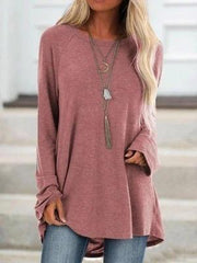 Women's Pure Color Casual Round Neck Loose Long Sleeve T-Shirt