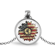 American Flag Sunflower Adjustable Necklace