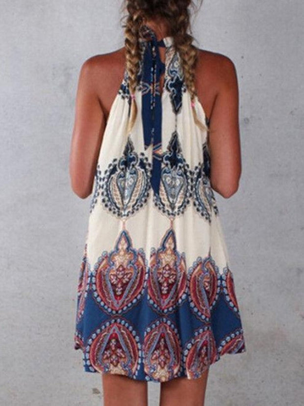 Halter Neck Paisley Shift Dress
