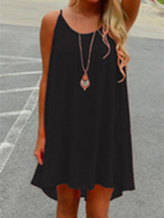 Spaghetti Strap  Hollow Out Shift Dress
