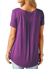 V-Neck  Asymmetric Hem Button Short Sleeve T-Shirts