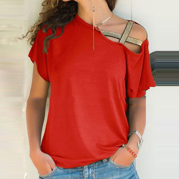 Fashion Open Shoulder Plain  T-Shirts