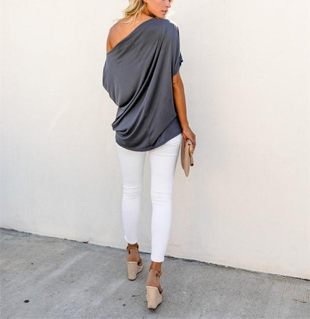 Sexy Pure Color Slanted Shoulder Baggy Blouse T-Shirt