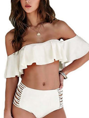 Flounced Off Shoulder Solid Color Hollow Out High Waist Bikini Set