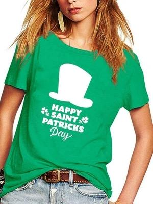 Women's HAPPY SAINT PATRICKS Day Hat Short Sleeve T-Shirt