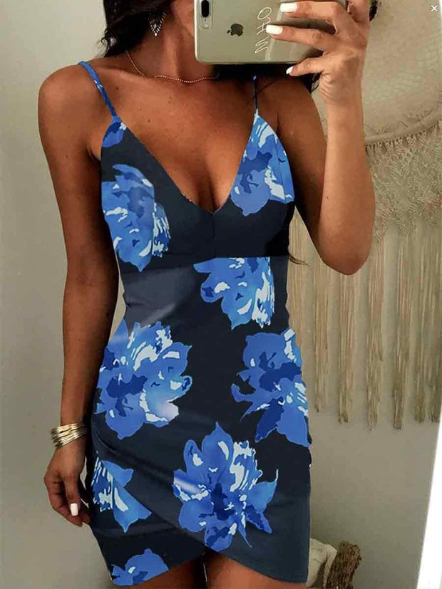 Strap V-Neck Irregular Hem Floral Bodycon Dress
