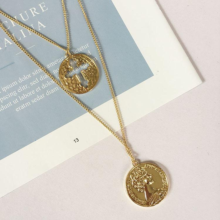 Vintage Cross Queen Coin Necklace