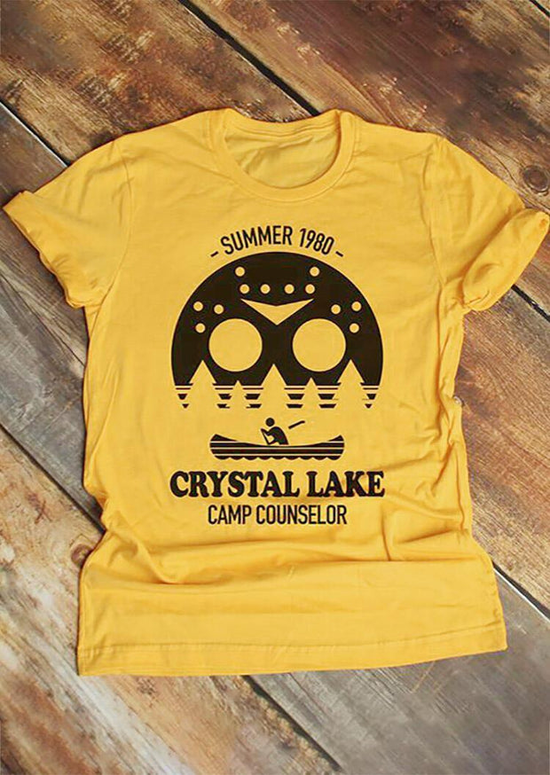 Summer 1980 Crystal Lake Camp Counselor T-Shirt Tee - Yellow