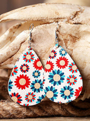 Colorful Sunflower Leather Earrings