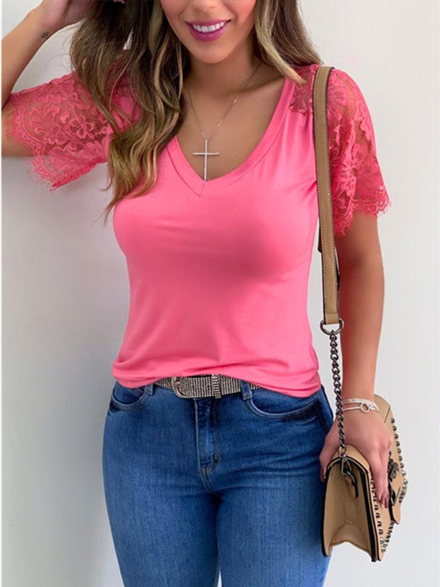 Lace Splicing V-Neck Solid Color T-shirt