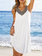 Vacation Beach V-neck Shift Dress