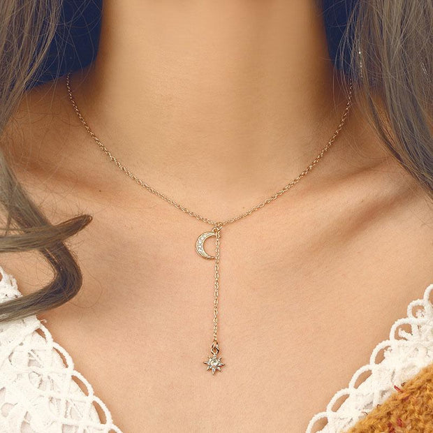 Moon and Star Gemstone Necklace