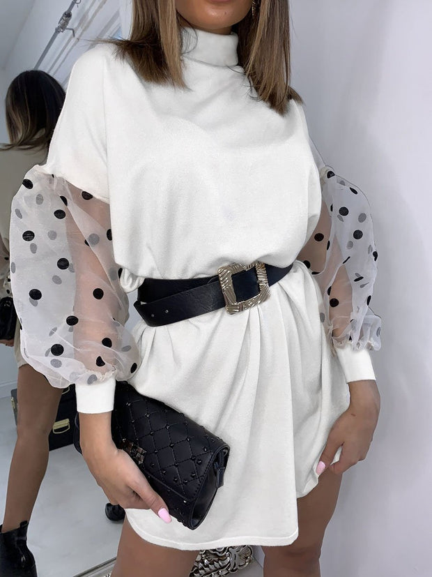 Long Sleeves Polka Dot Dress