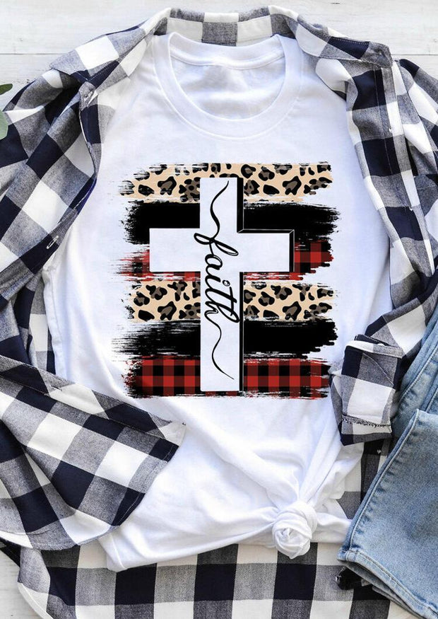 Faith Cross Plaid Leopard Printed T-Shirt