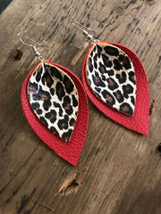 Black and Leopard Leather Earrings
