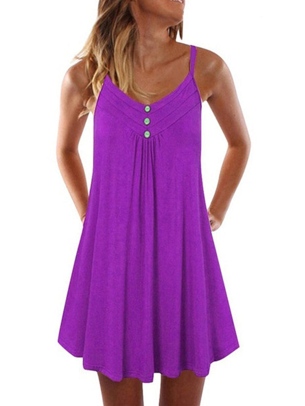 Sexy V-neck Sling Button Casual Dress