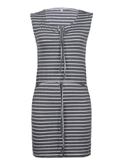 Striped Lace-up Casual Dresses