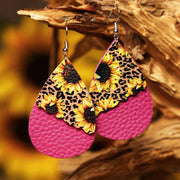 2 Layered Leopard/Floral Splicing Leather Earrings