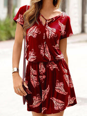 V-Neck Lace-up printed Floral Dress