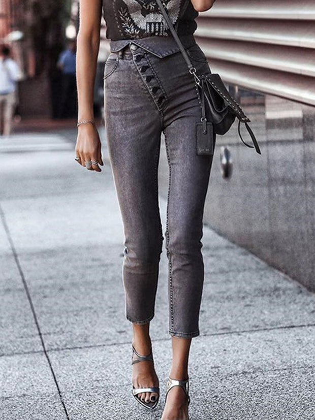 Casual Style  Buttons Jeans