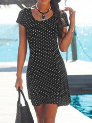 Beach Polka Dot Printing Shift Dress