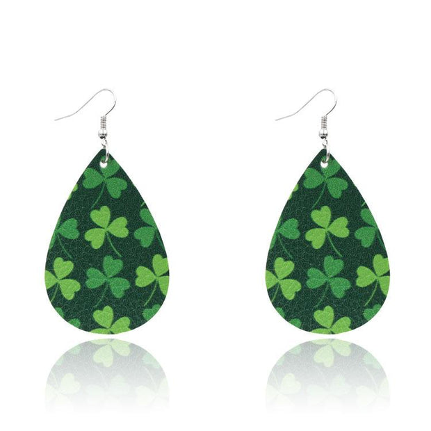St. Patrick's Day Lucky Shamrock PU Leather Heart Earrings
