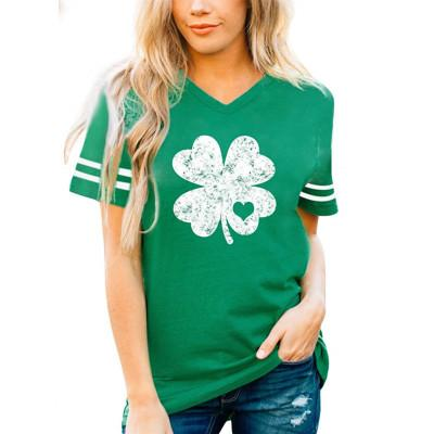 Clover print short-sleeved V-neck T-shirt