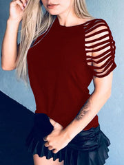 Round Neck  Hollow Out Sleeves Solid Color T-shirt