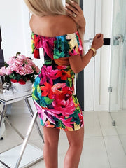 Boat Collar Printing Bodycon Floral Dress