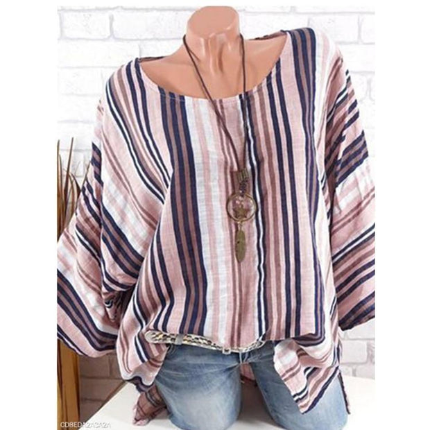 Striped Printed Cotton-linen T-shirt