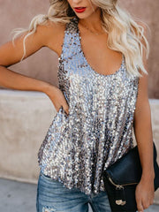 Sexy Sequins U Neck Backless Tank Top