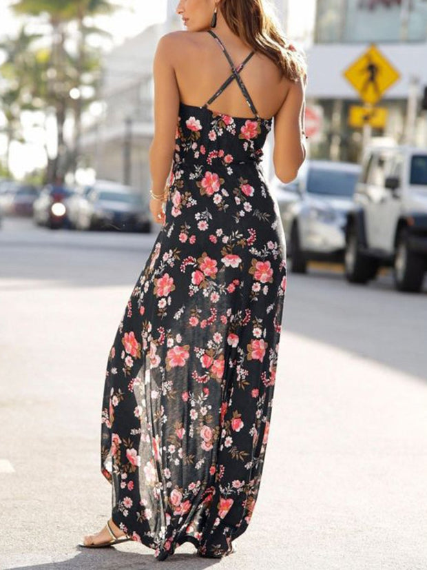 Straps Waist Belt High Low Floral Dress