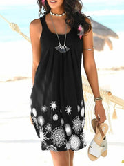 Sweet Sleeveless Printing Casual Floral Dress