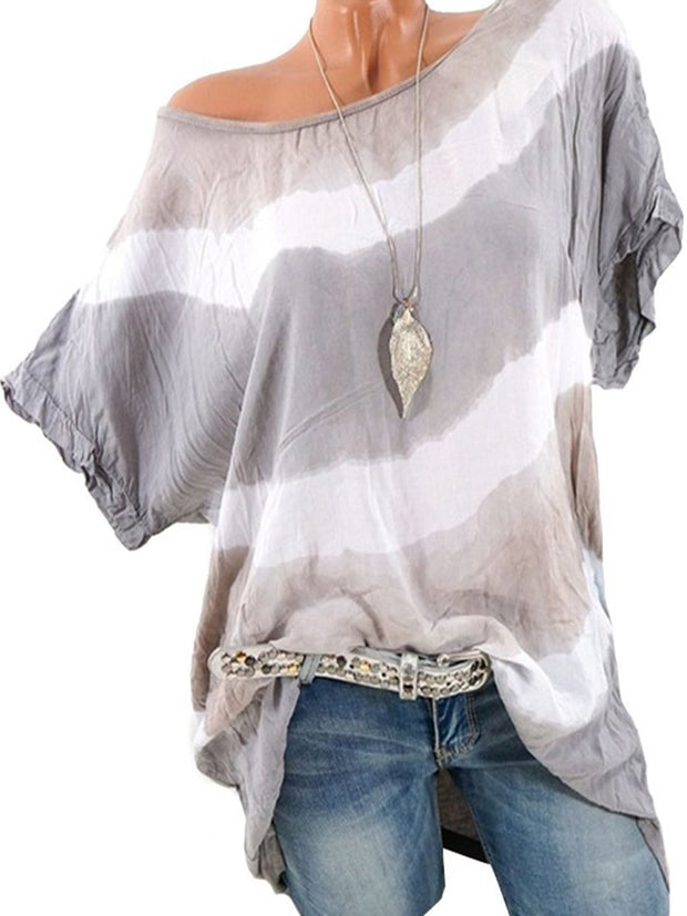 Irregular Stripes Round Neck Casual Blouse
