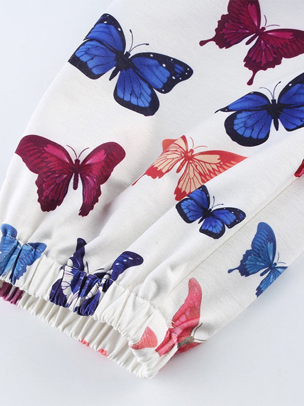Elastic Waist Butterfly Printed Pants with pocket