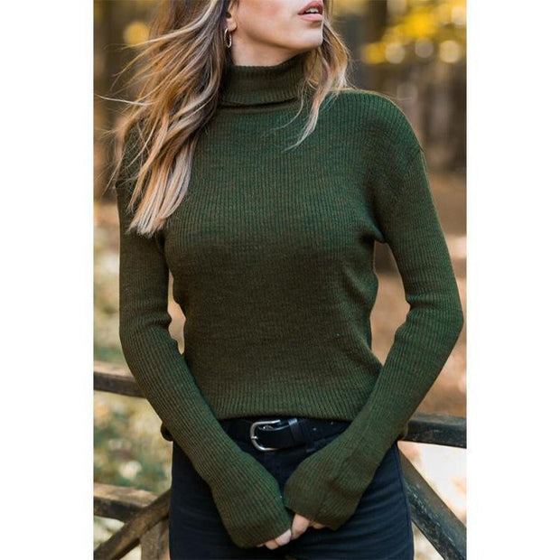 Casual high collar knit solid color T-shirt