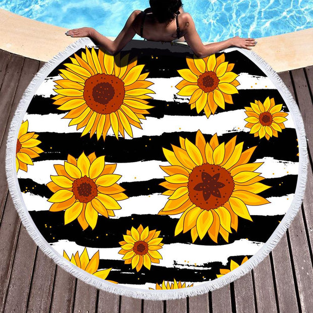 Striped Sunflower Cover Up Beach Towel Tassel Blanket