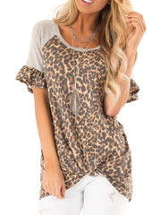 Hot Sale Leopard Printing Button Bell Sleeve T-shirt