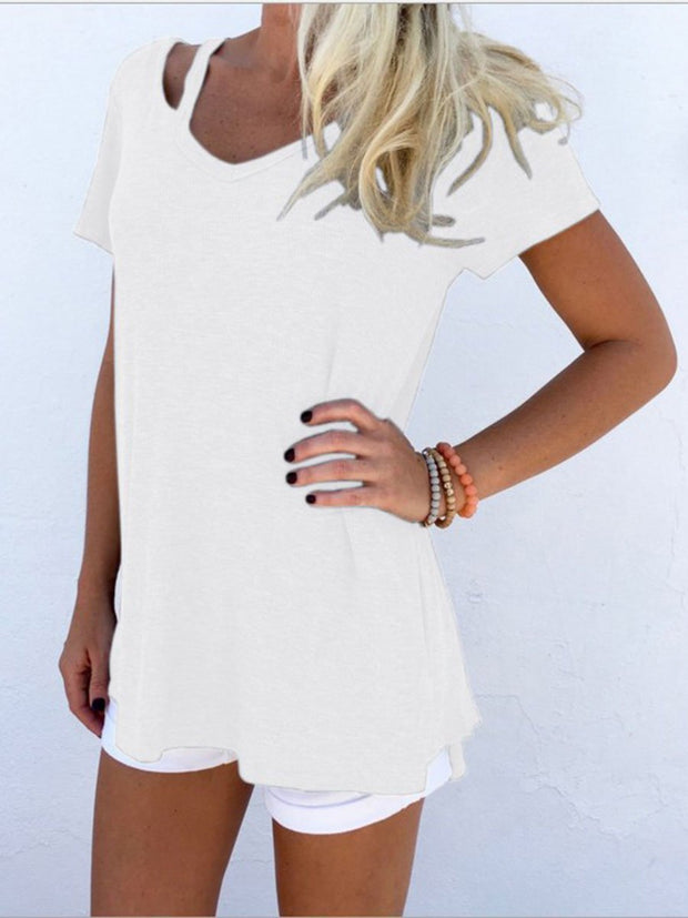 V-neck Short Sleeve Loose Casual T-shirt