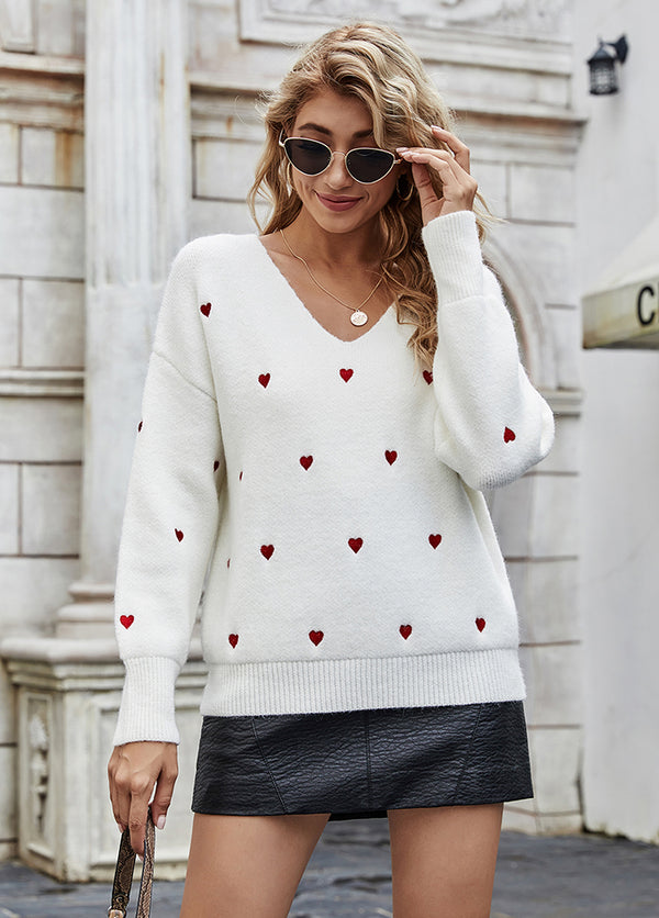 Love Printed V Neck Long Sleeve Sweater