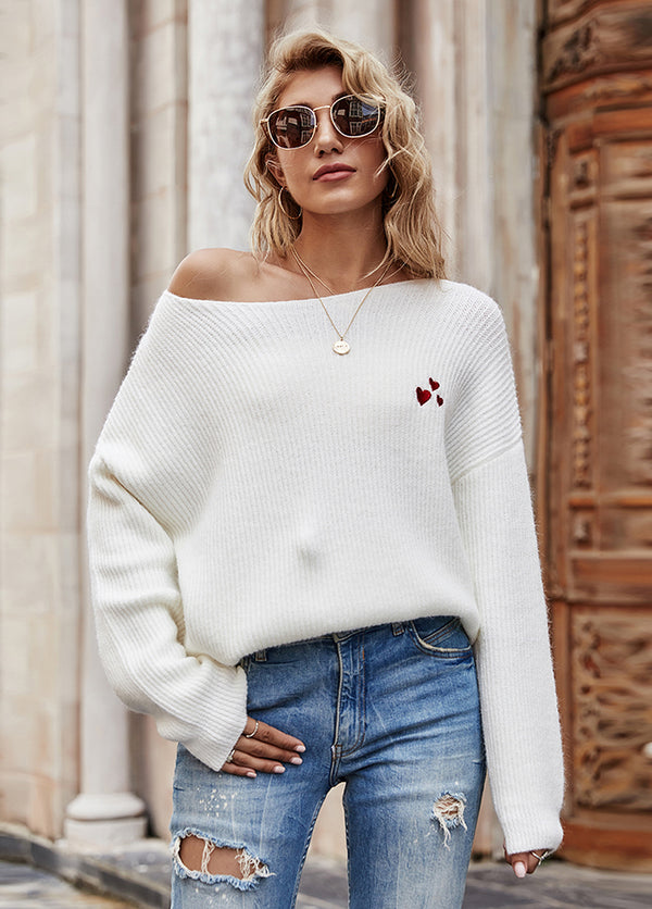 Round Neck Solid Color Long Sleeve Sweater