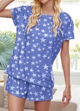 Star Printed Round Neck Short Sleeve T-shirt And Shorts Set