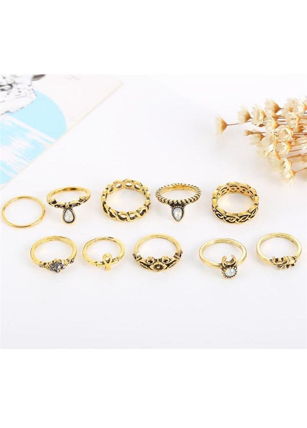 10pcs Gold Metal Stone Decorated Rings Set Gold 1901250506801