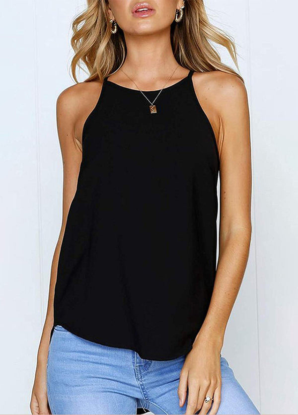 Solid Color Round Neck Sleeveless Tank Top